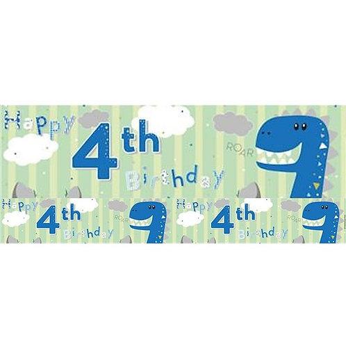 Dinosaur 4th Birthday Foil Banner