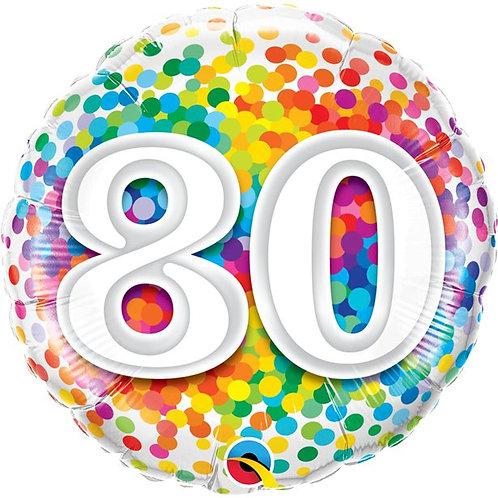 80th Birthday Rainbow Confetti Foil Balloon
