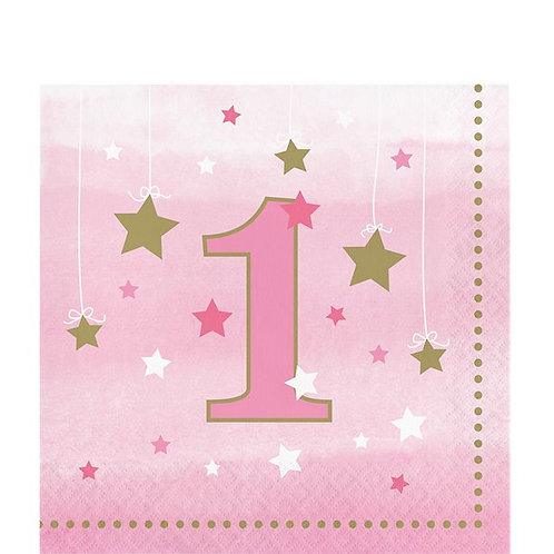 One Little Star Pink Paper Napkins