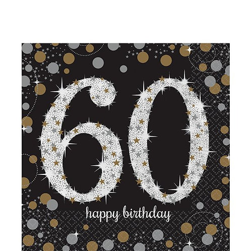 60th Birthday Party Napkins Gold & Silver