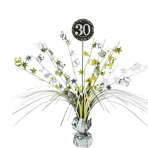 30th Birthday Party Foil Gold & Silver Table Spray Centrepiece