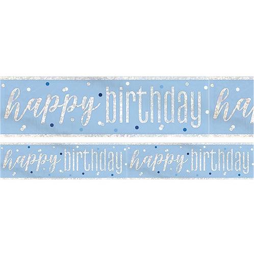 Happy Birthday Blue Glitz Banner.