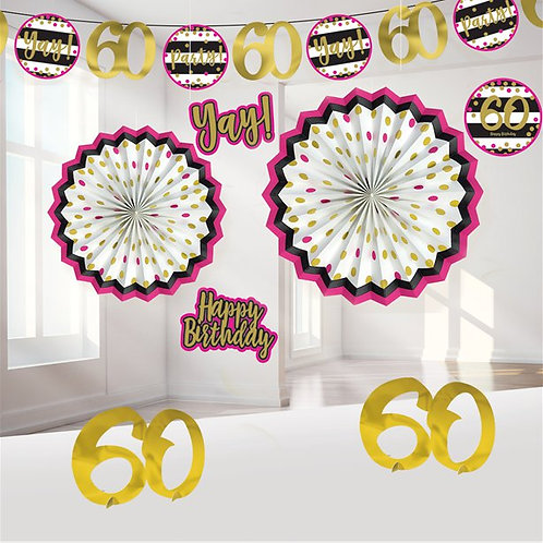 60th Pink And Gold Party Deco Kit