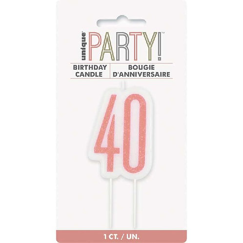 40th Rose Gold Cake Candle