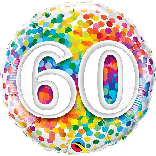60th Birthday Rainbow Confetti Foil Balloon