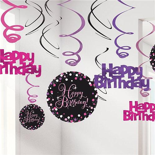 Happy Birthday Pink Sparkling Celebration Hanging Swirls