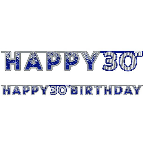 30th Happy Birthday Letter Banner Blue