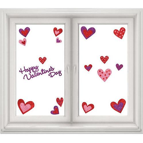 Valentines Glitter Heart Window Stickers