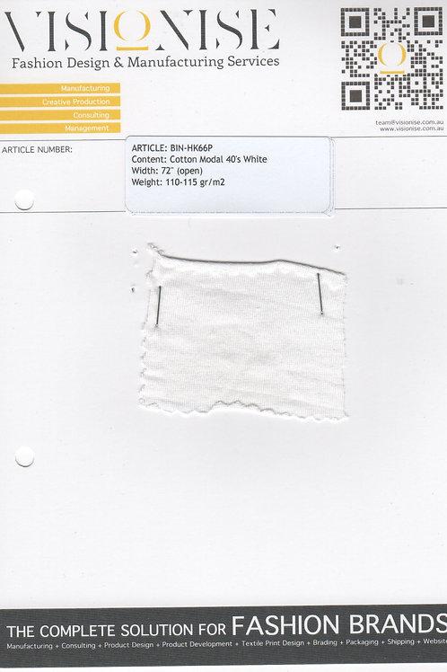 Cotton Modal 40's White