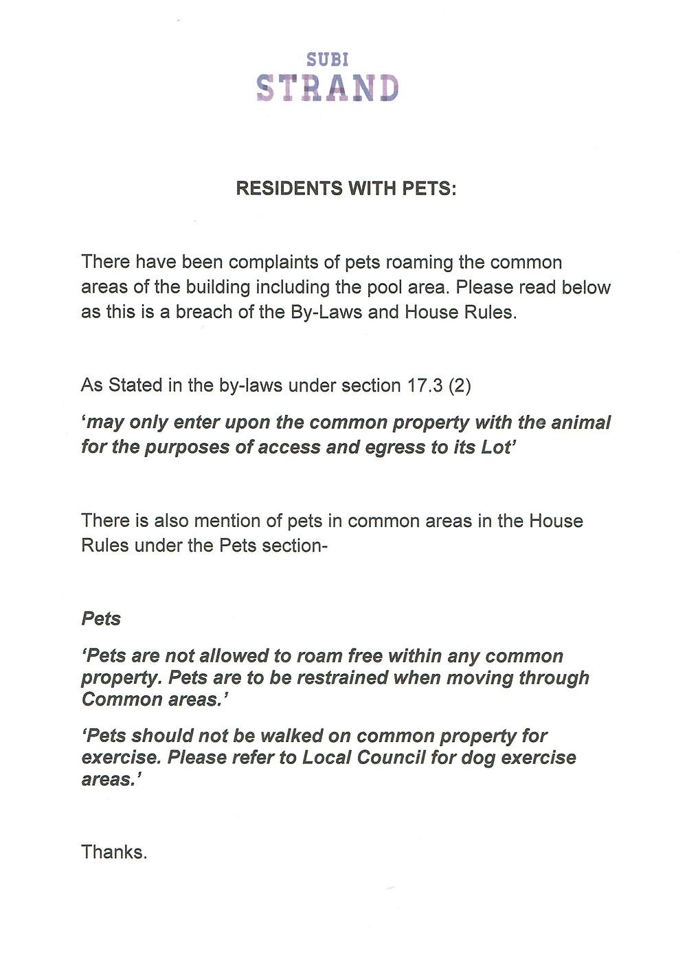 Residents with pets: