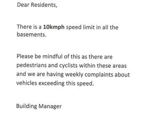 Speed limit in car park