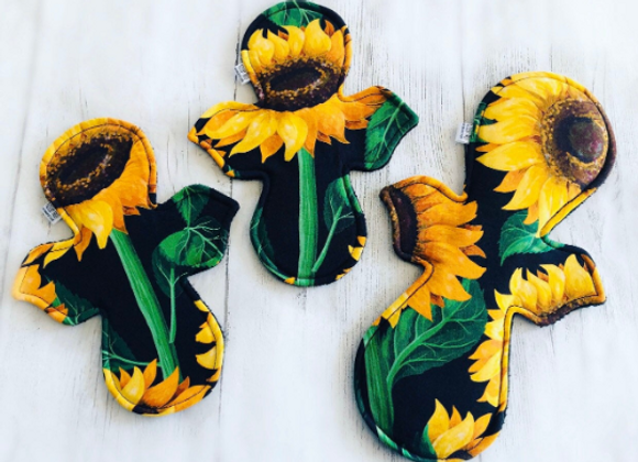Zero Waste Reusable Sanitary Pad in Sunflowers