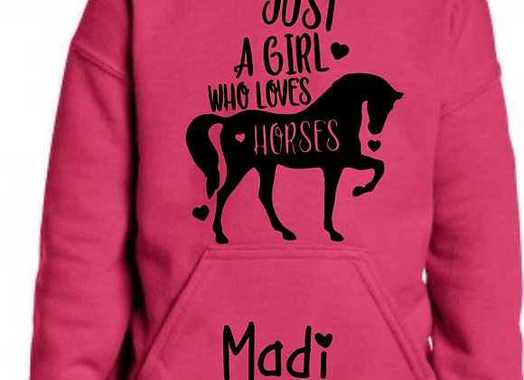 Personalised Girls, Horse Riding, Jumper Hoody, Add Child Name, Just a girl who