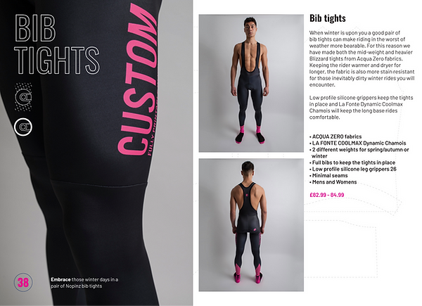 Bib tights page of the Club Nopinz custom kit brochure