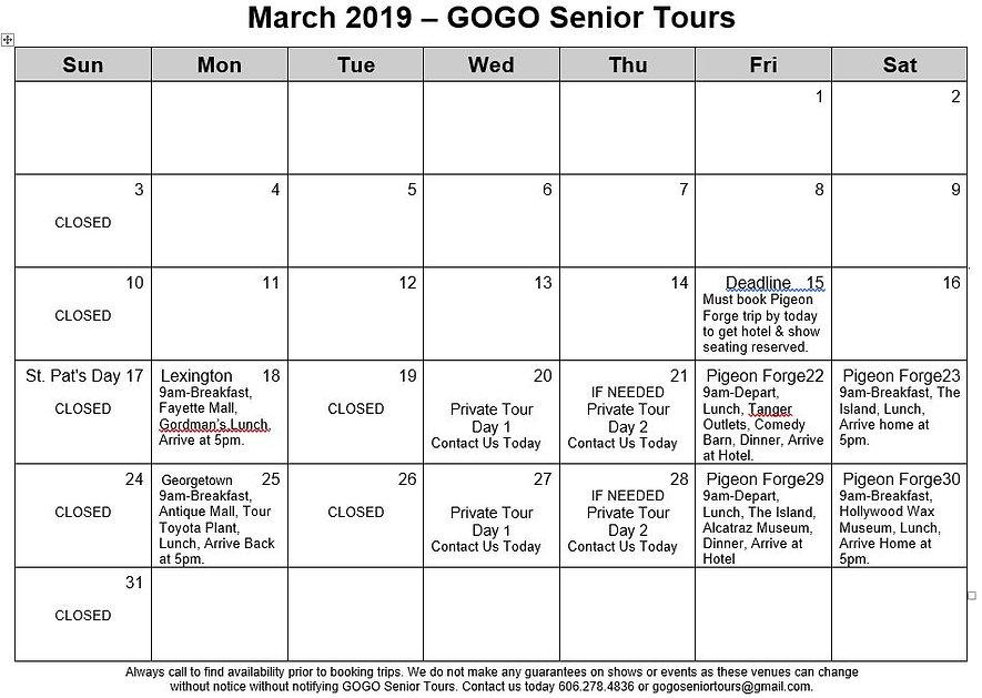 GOGO Seniors March Itinarary.JPG