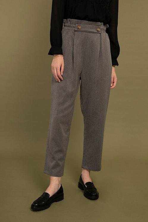 מכנסיים בגזרה גבוהה וישרה עם גומי ושני כפתורים ,