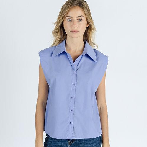 חולצת צווארון מכופתרת עם כריות בכתפיים