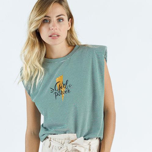 חולצת פסים כריות  בכתפיים