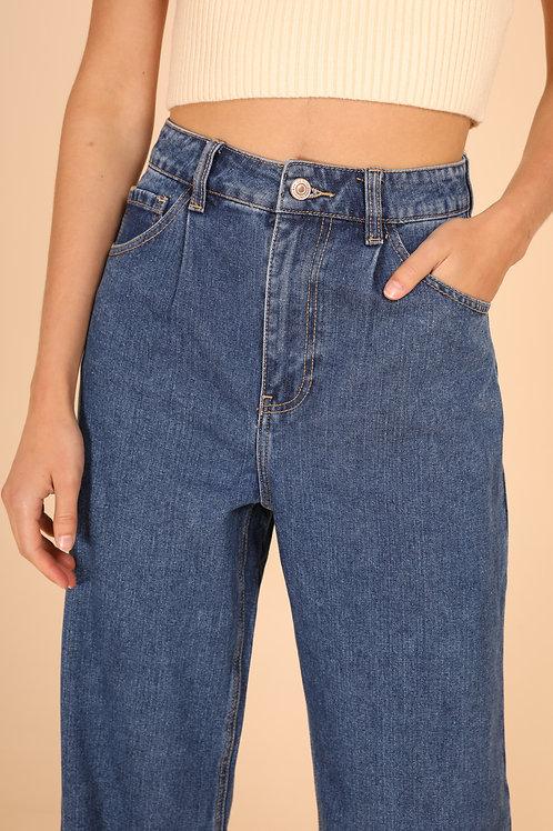 מכנסי ג'ינס גבוהים גזרה רחבה
