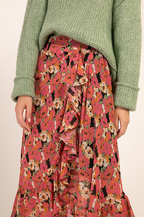 חצאית מידי פרחונית ורודה