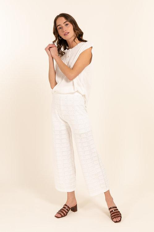 מכנסי סריג לבנים קלילים