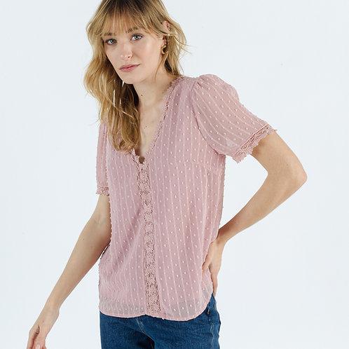 חולצת שיפון ורודה עם מפתח וי שרוולים קצרים