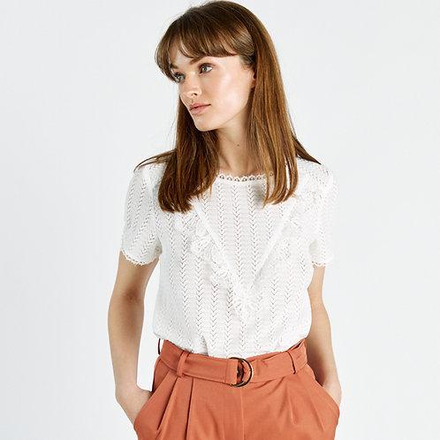 חולצה לבנה חגיגית עם עיטורים שרוולים קצרים