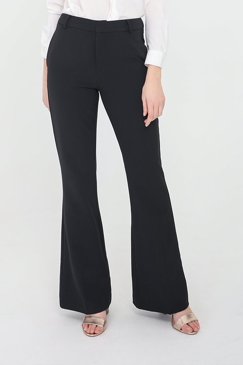 מכנסיים בגזרה גבוהה ומתרחבת שחורים