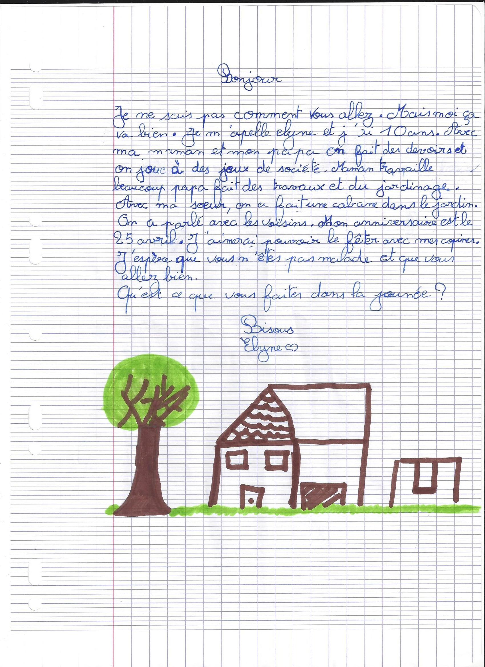 Lettre Elyne - 10 ans