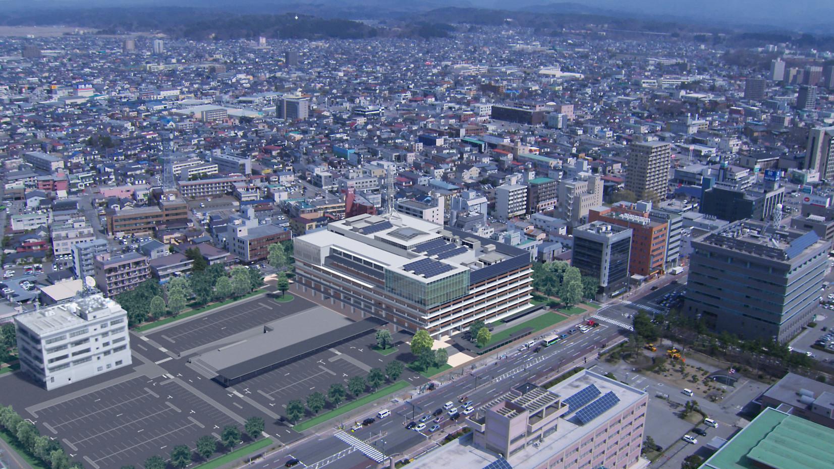 新秋田市役所 空撮合成