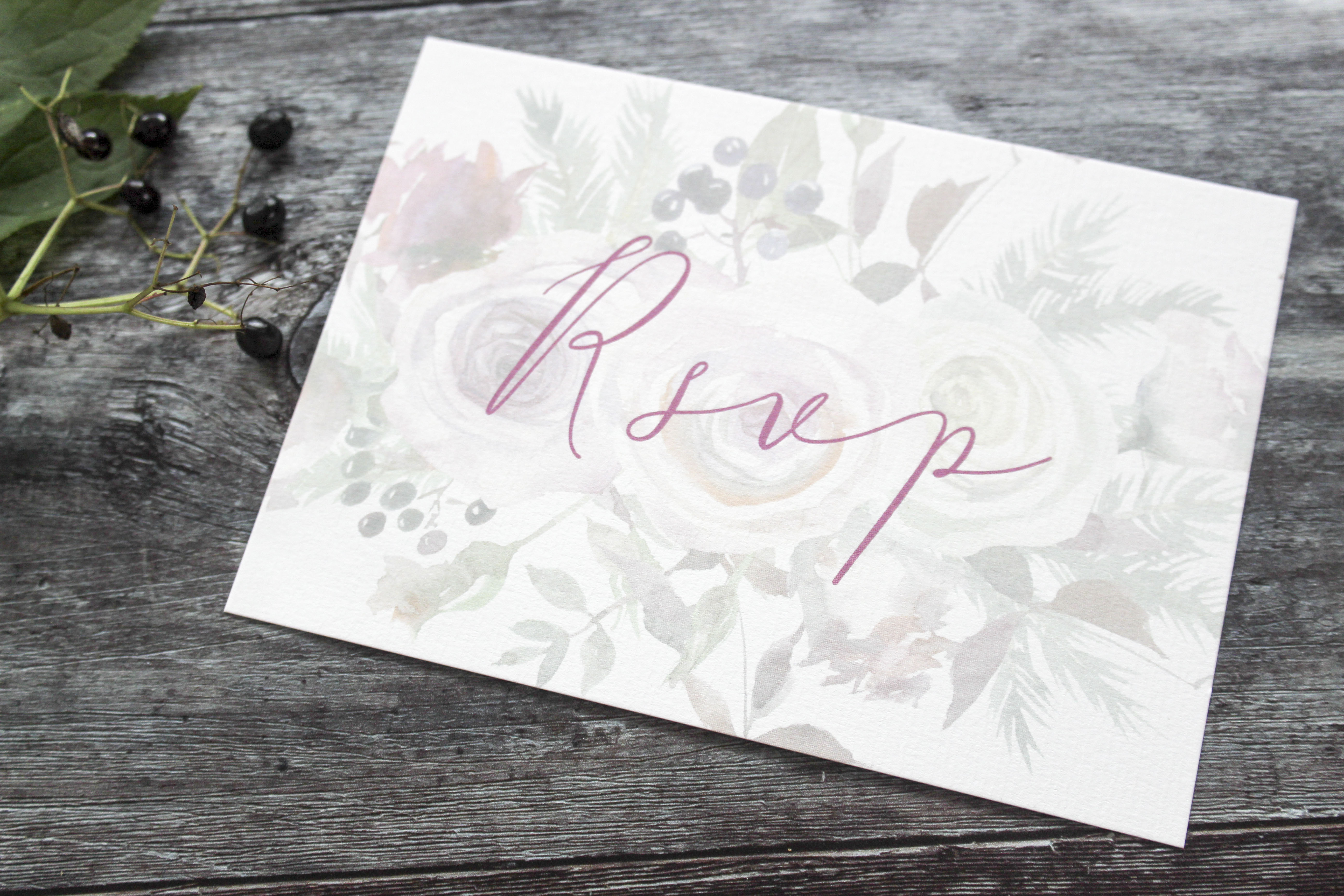 rustic floral wedding rsvp