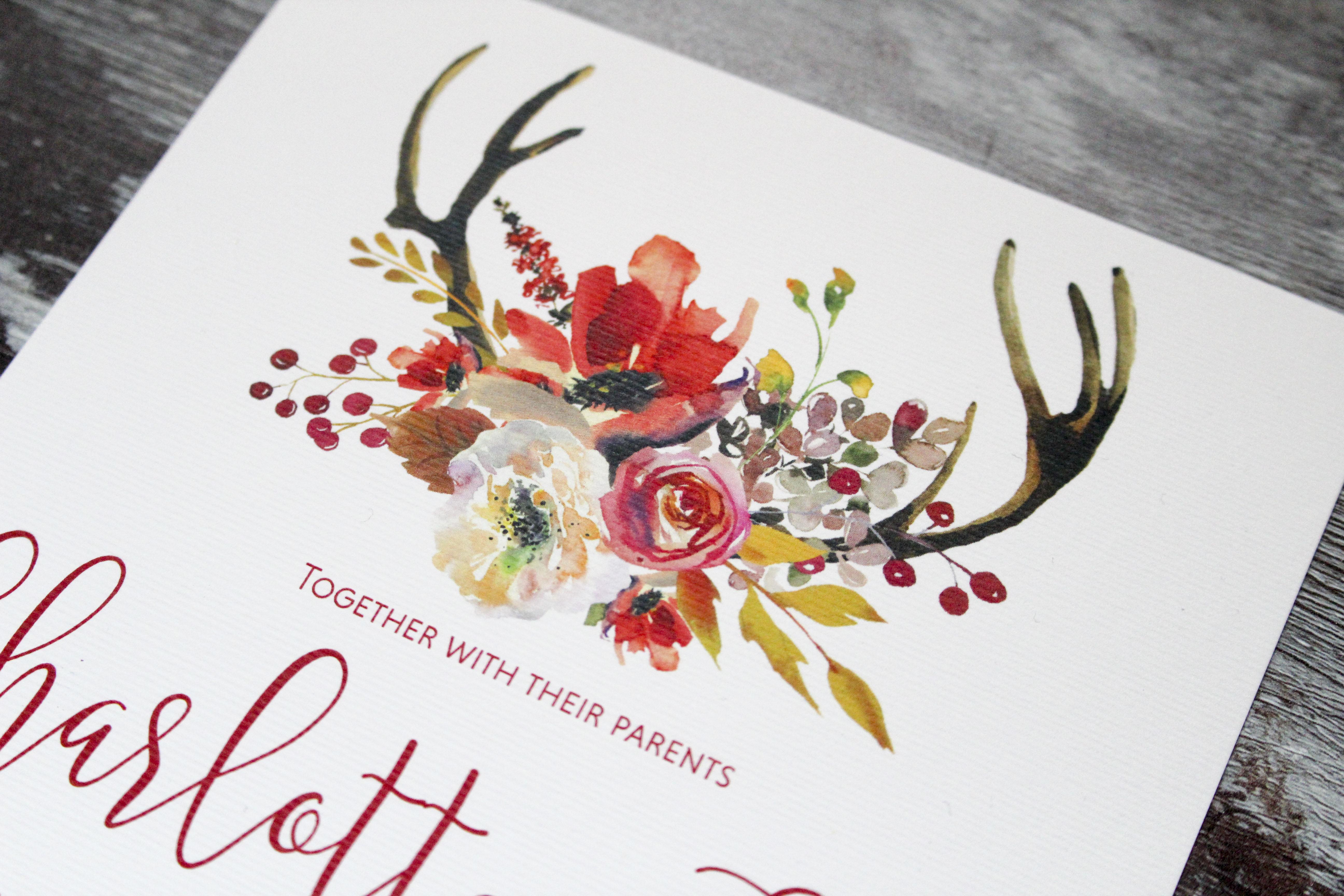 deer antlers wedding invitation