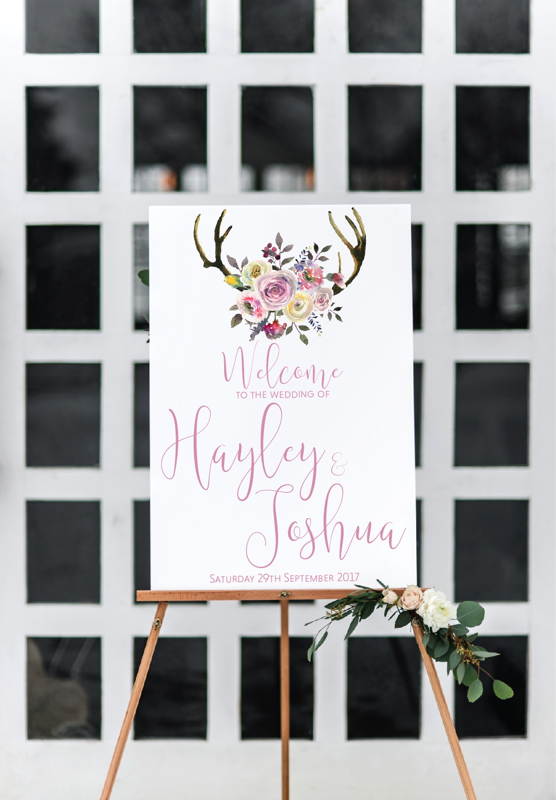 pink floral welcome sign