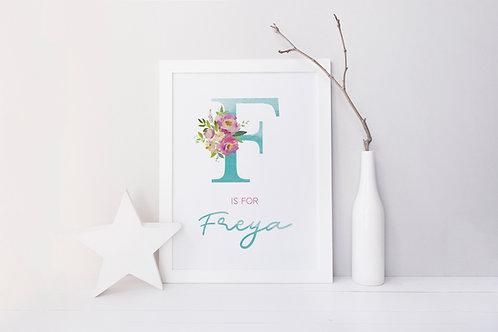 Teal floral print