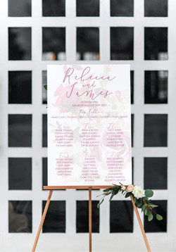 Winter floral wedding table plan