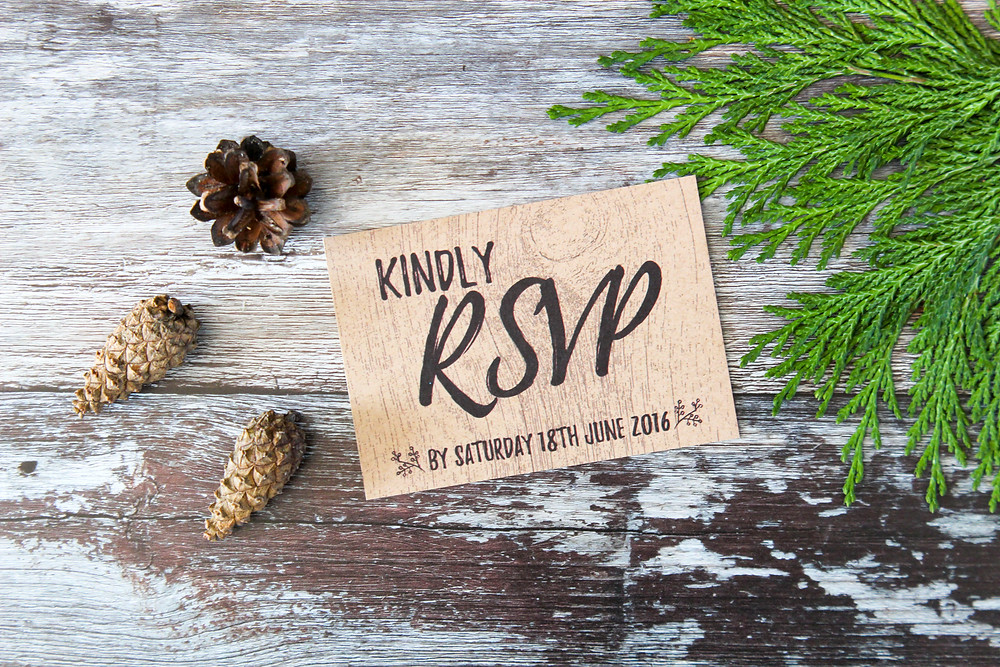 rsvp cards rustic kraft i love and love