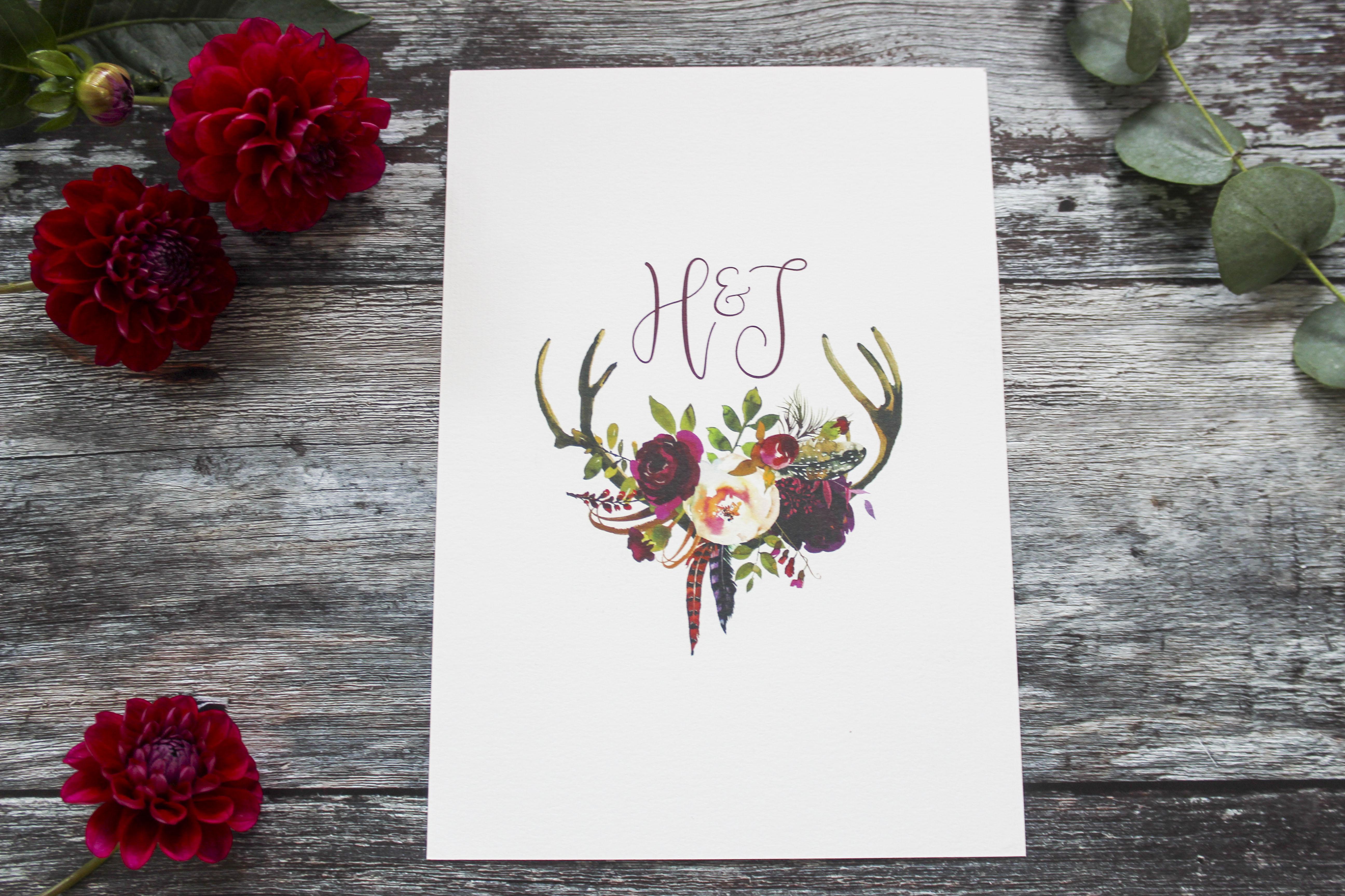 rustic antler invite