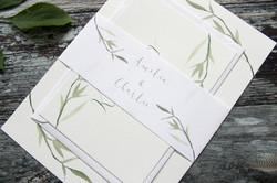 watercolour leaf invitation bundle