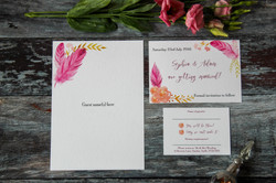 rustic feather wedding stationery