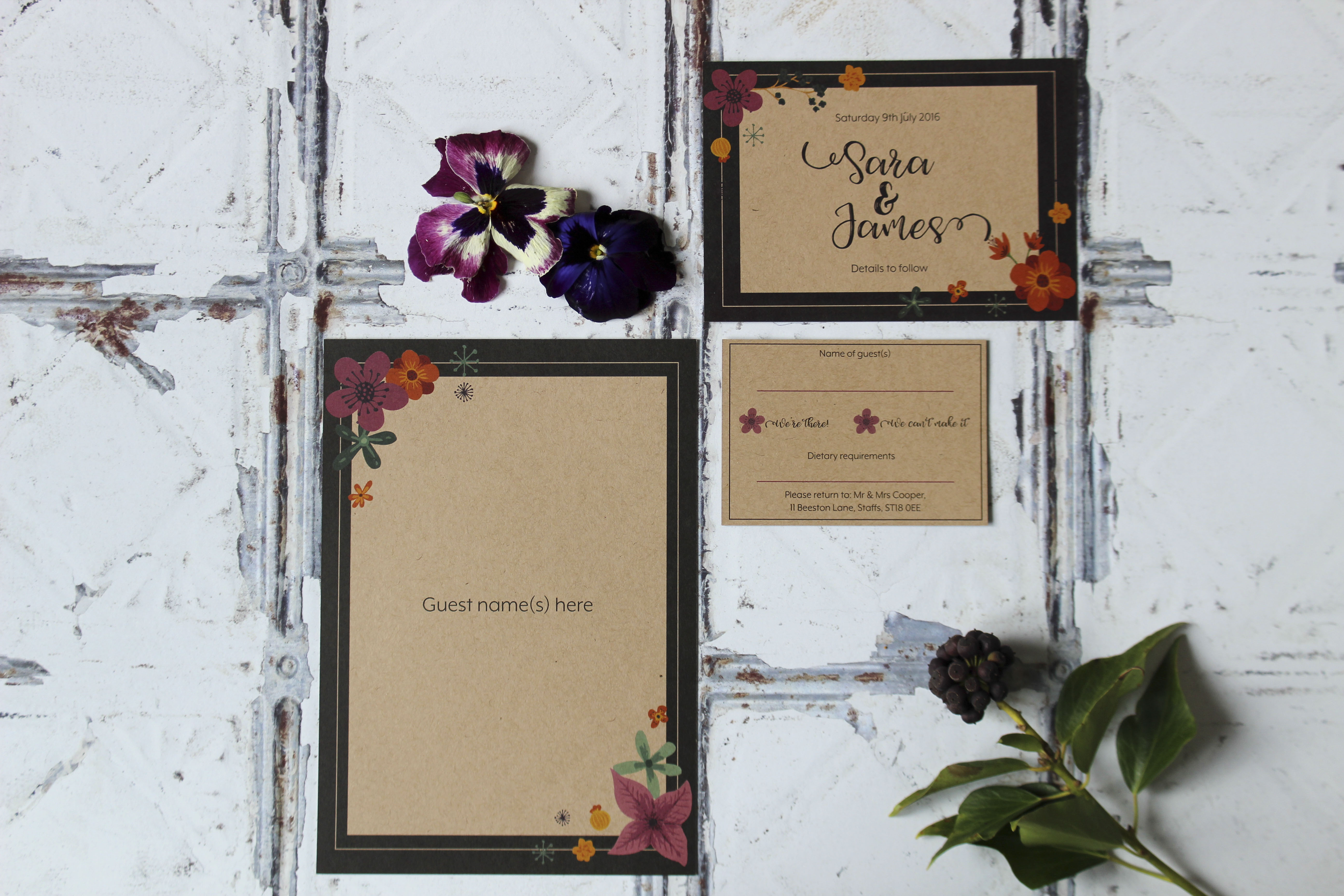 floral kraft wedding stationery