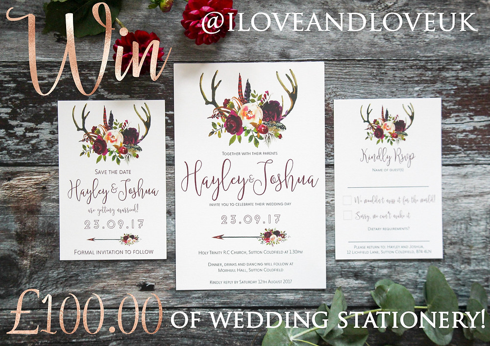 Win wedding stationery I Love and Love