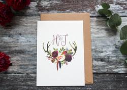 deer antler wedding save the date