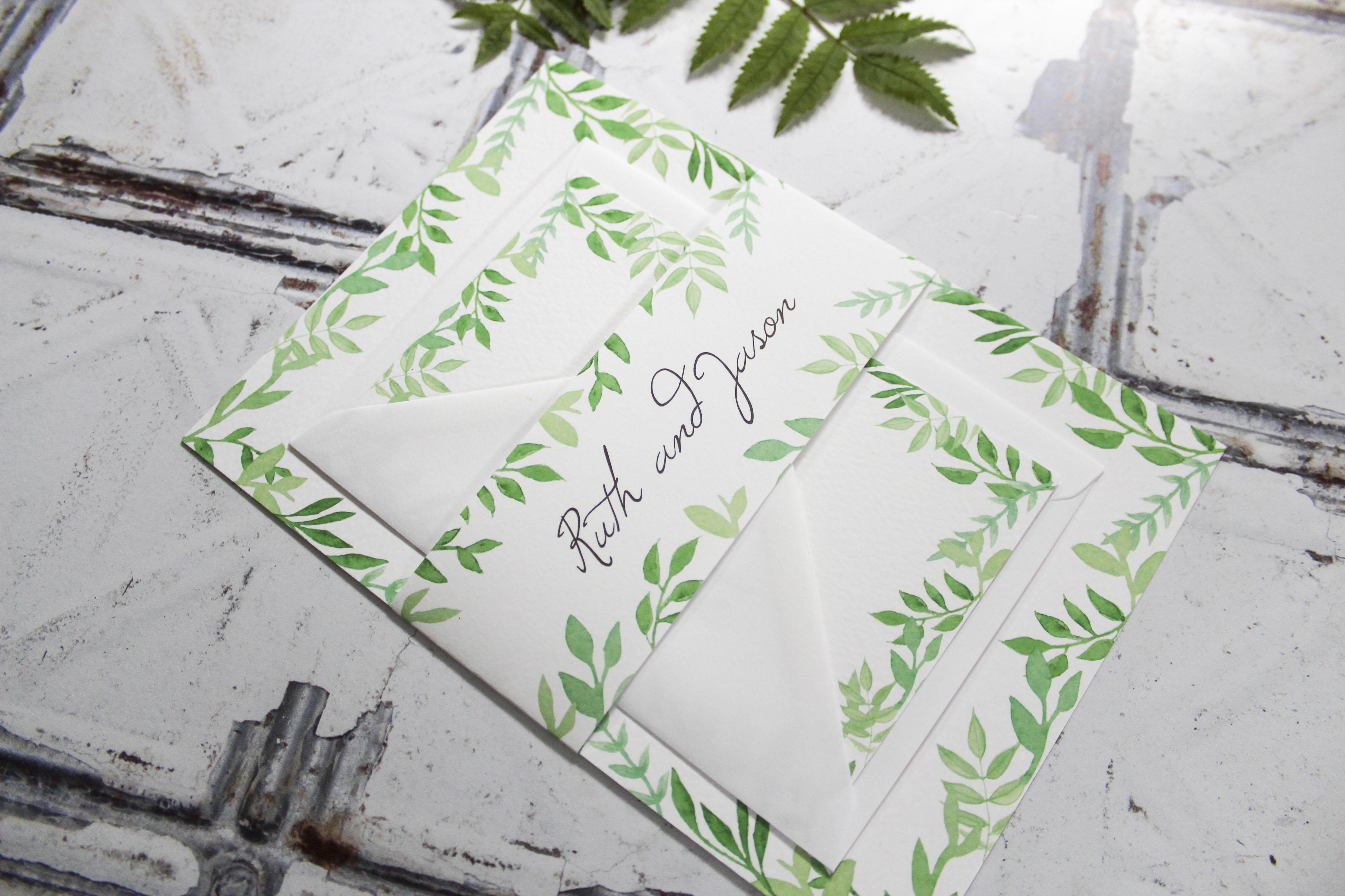 green-leaf-wedding-invitation-set