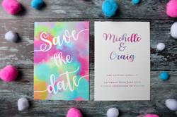 bright funky wedding invitations