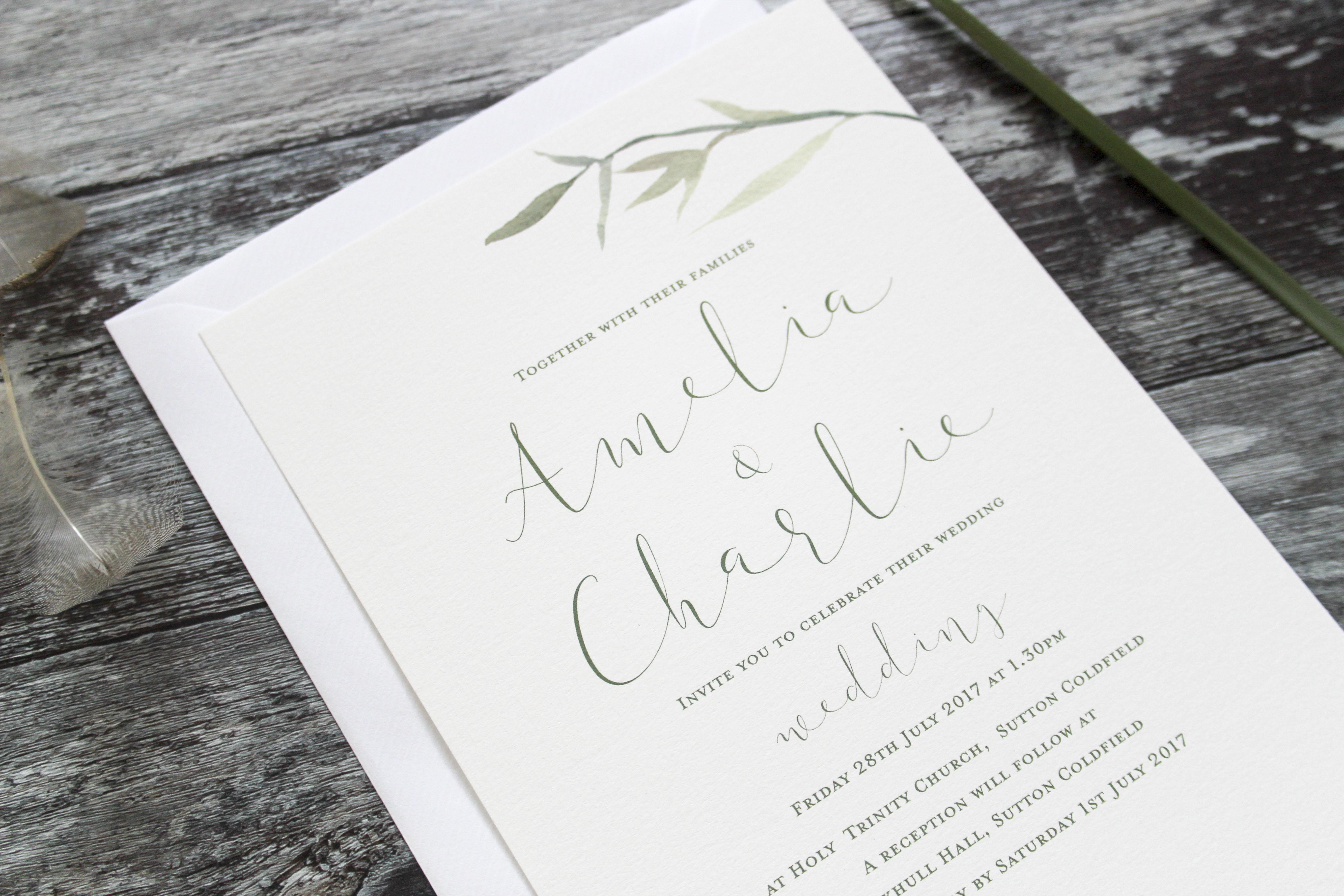 rustic leaf wedding invitation