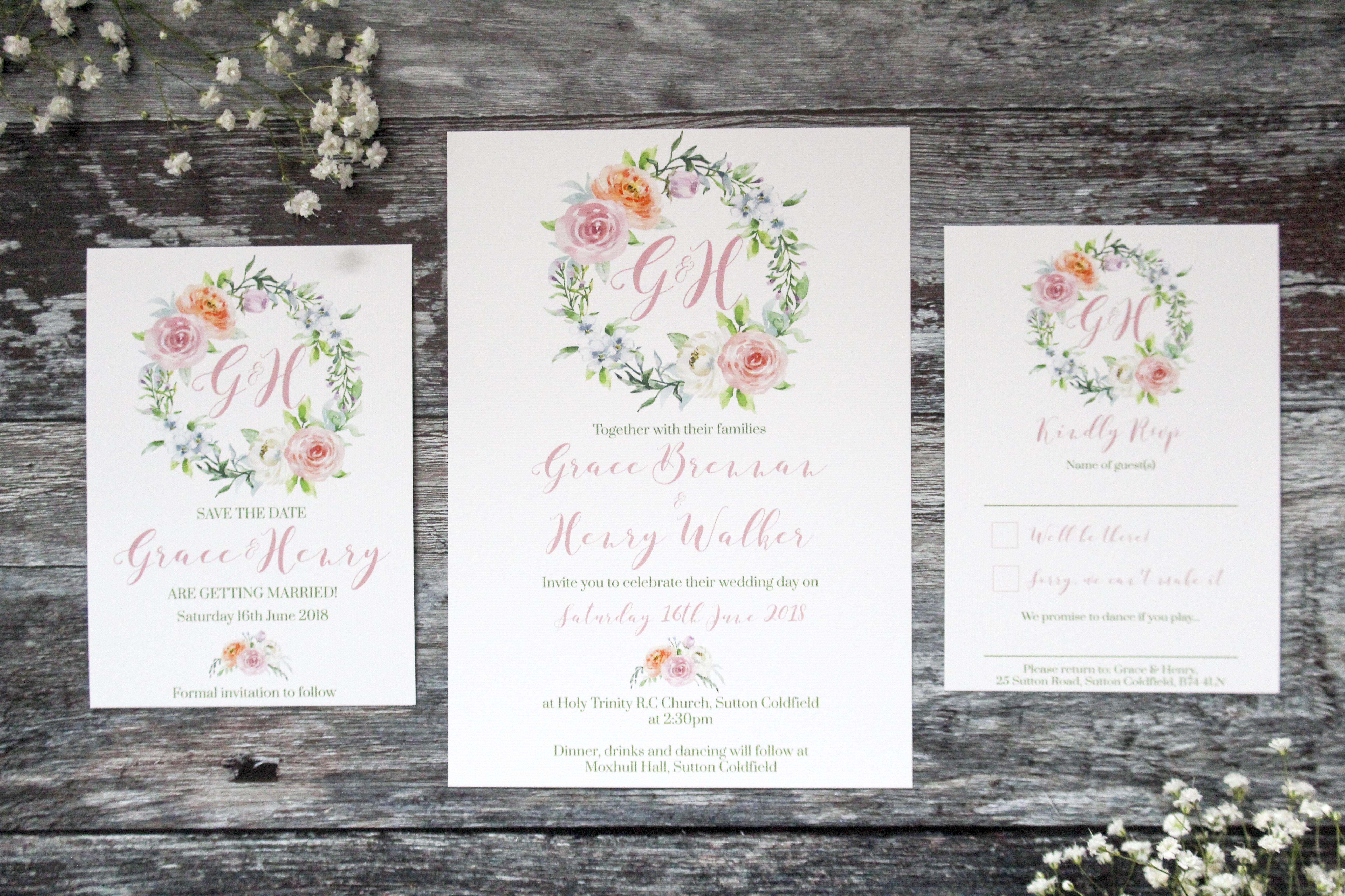 floral wreath wedding stationery