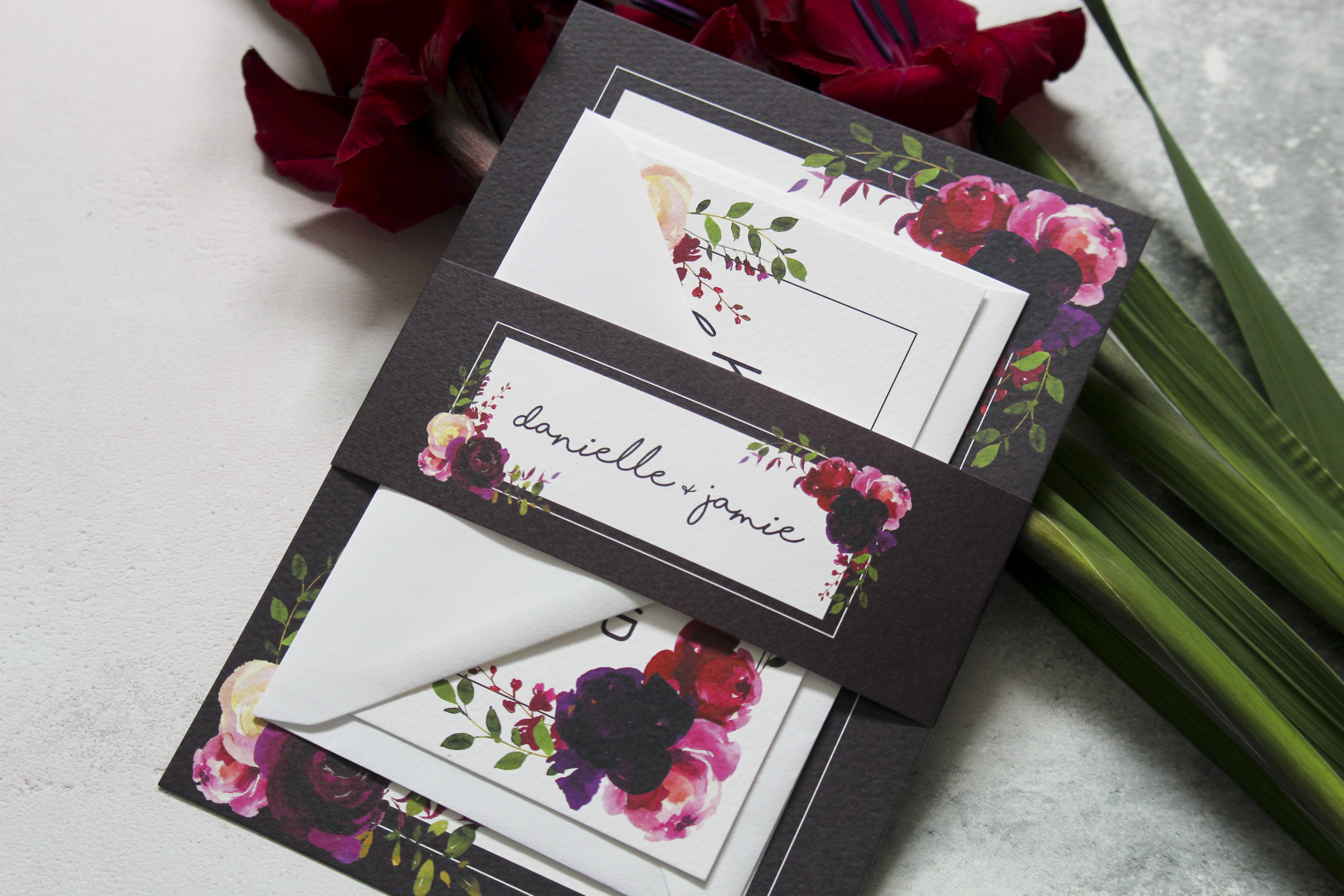 dark floral wedding stationery set