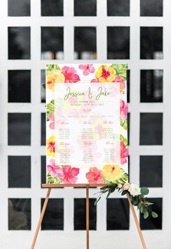 tropical wedding seating chart