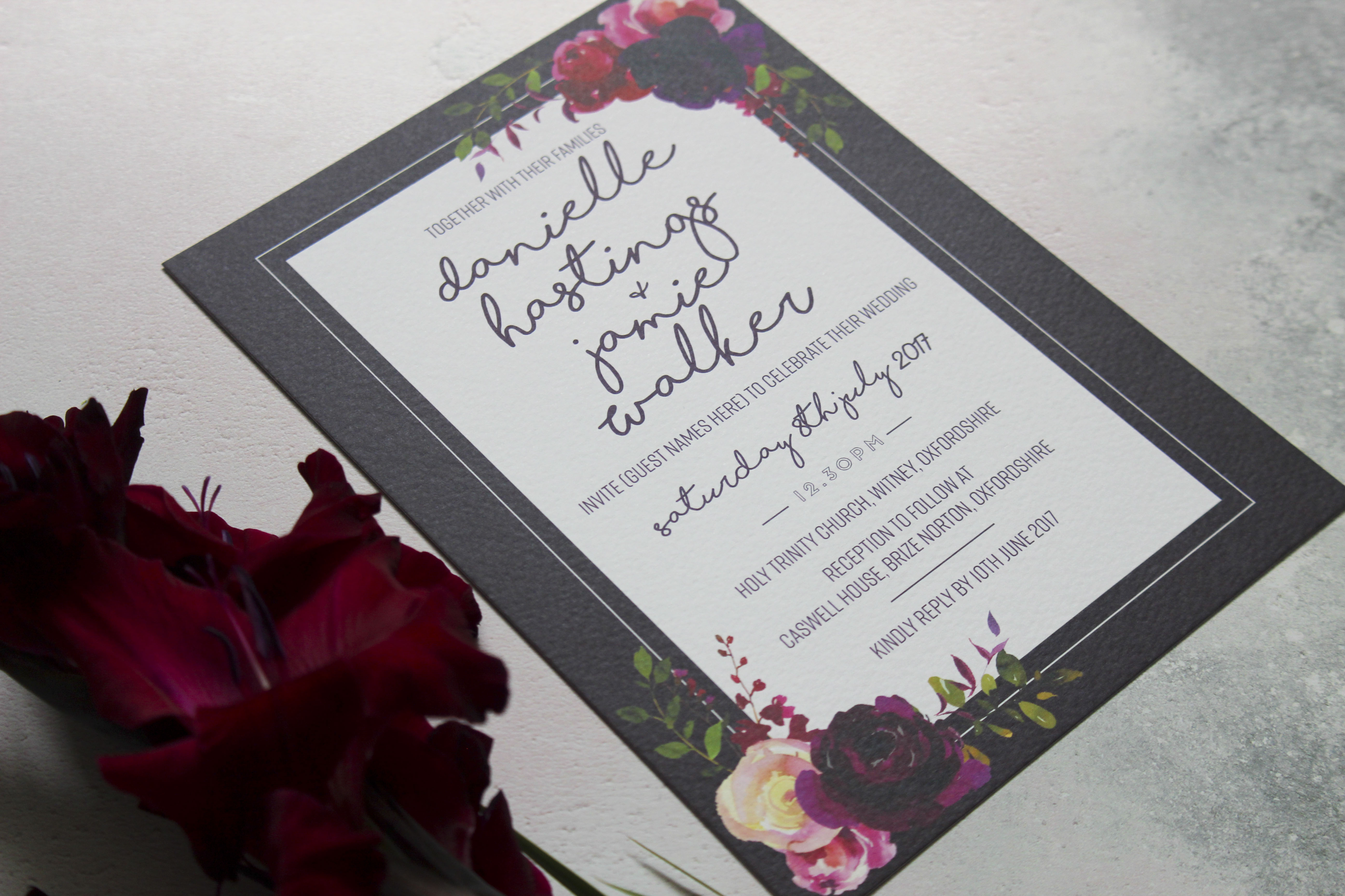 dark floral wedding invites