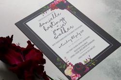 dark floral wedding invites